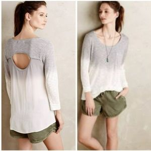 Anthro Language Ombre Cutout BAck Long Sleeve Top